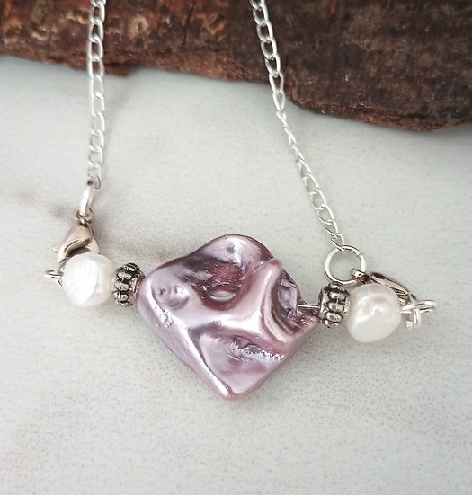 """Mauve""""Nucleated"""" Freshwater Pearl Necklace"""
