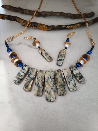 Blue and Pearl Statement Necklace set
