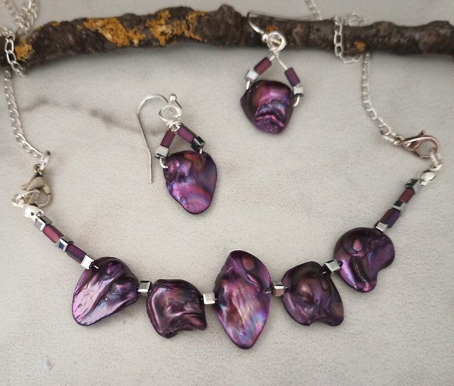 Purple Biwa Fresh Water Pearls Necklace set