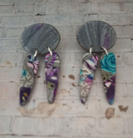 Plumed Flowers  and Silver Lines Earrings