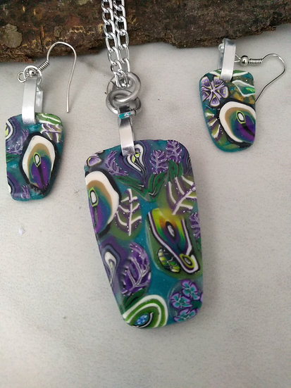 Lavender Fields Rectangular-ish Necklace set