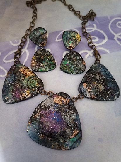 Galaxy Statement Necklace set ( Triangles)