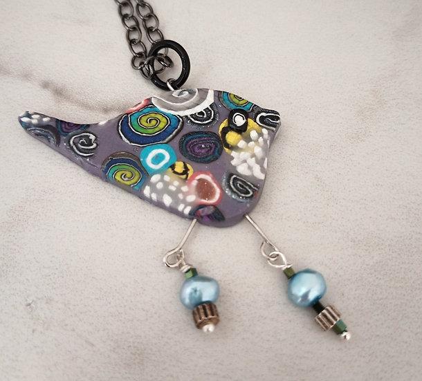 Swirly Birdie Pendant