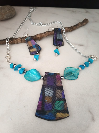 Dichroic Modern Necklace set
