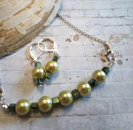 Light Green South Sea Freshwater Pearls Necklace set
