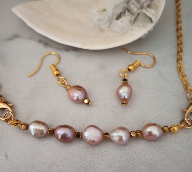 Edison Edition Purple Freshwater Pearls Necklace set