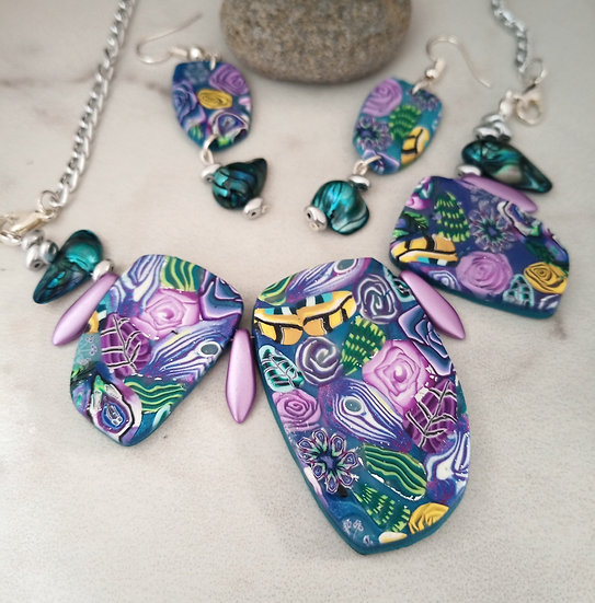 Teal Floating Garden Statement Necklace set