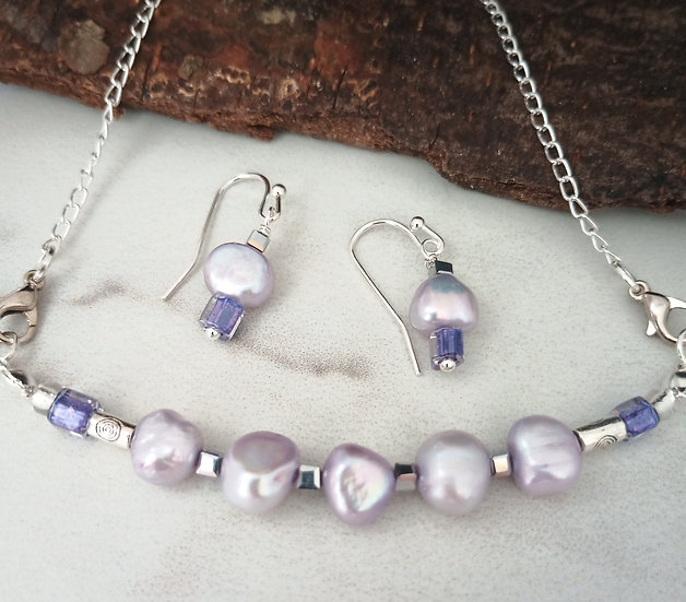 Lavender Baroque Freshwater Pearls Necklace set