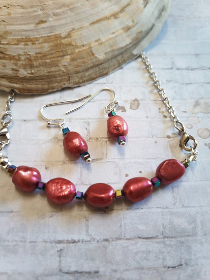 Red Brick Baroque Freshwater Pearls necklace set