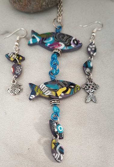 "Blue Fishies with ""Bubbles"" Necklace set"