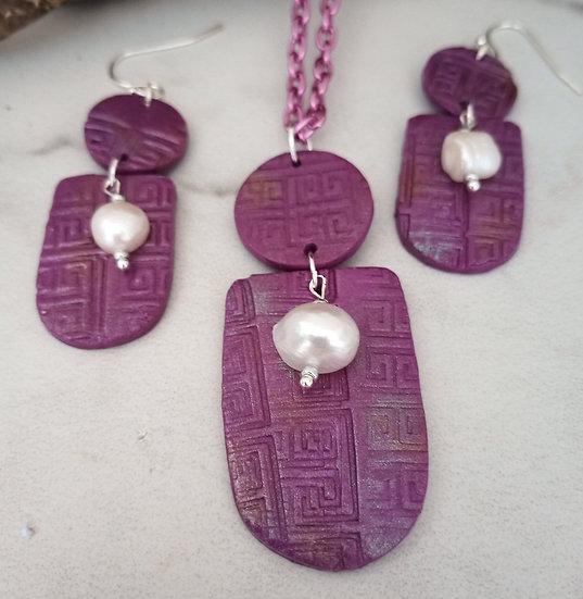 Deep Grape Modern Print Necklace set (2)