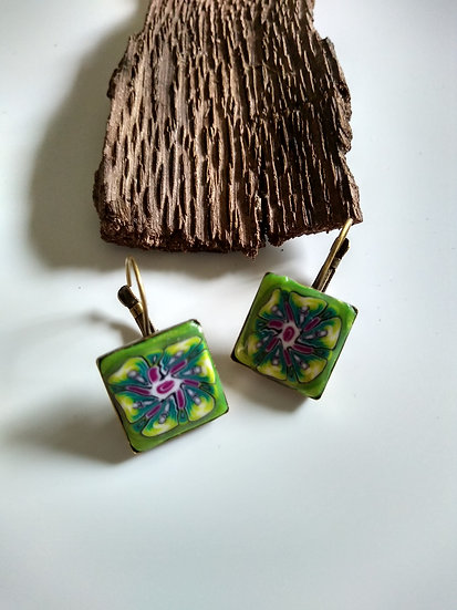 Green and Fuchsia Flower Earrings