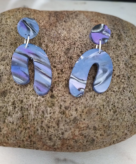 Periwinkle Asymmetrical Rainbow Earrings