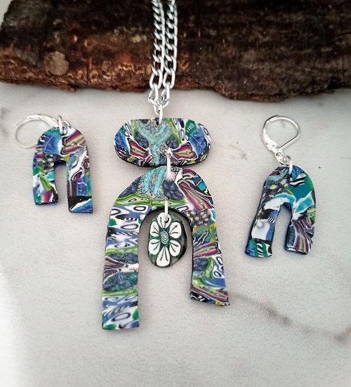 Wonder kaleidoscope U Shape Necklace set