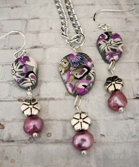Mini Mauve Metallic Necklace set