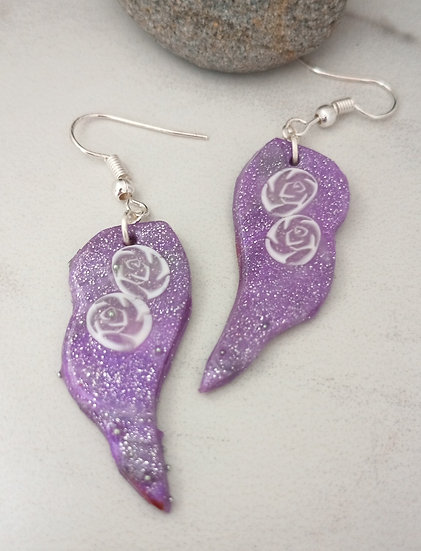 Sparkly Mauve Wing Earrings
