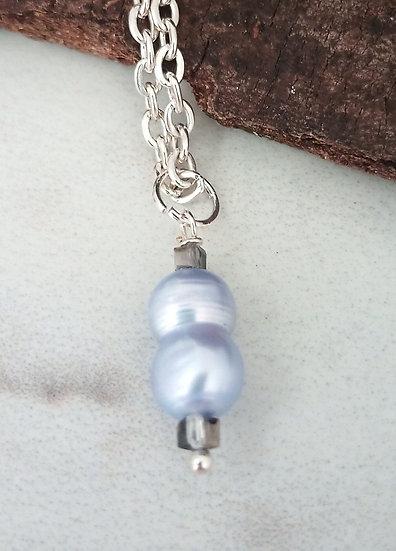 Light Blue Freeform Freshwater Pearl Pendant