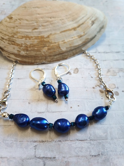 Sapphire Blue Baroque Freshwater Pearls Necklace set