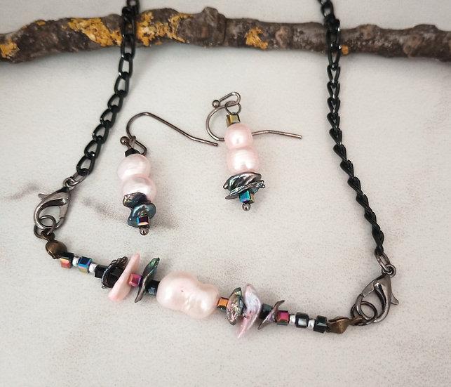 Pink and Black Keisi Fresh Water Pearls set