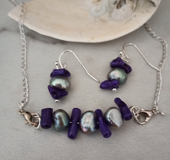 Gray and Purple Freshwater Pearl Necklace set