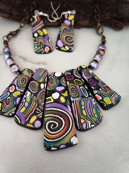 Swirls, Stripes and Dots Statement Necklace set