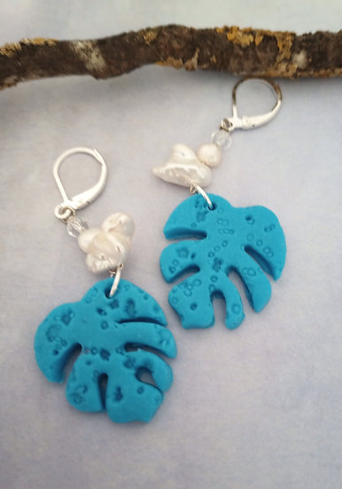 Monstera Leaf Turquoise color Earrings