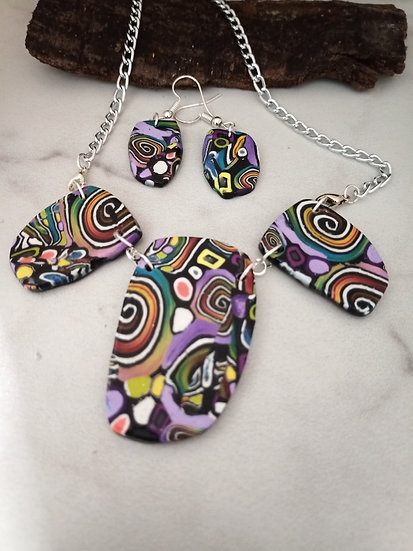 Swirls and Dots Statement Necklace  #3