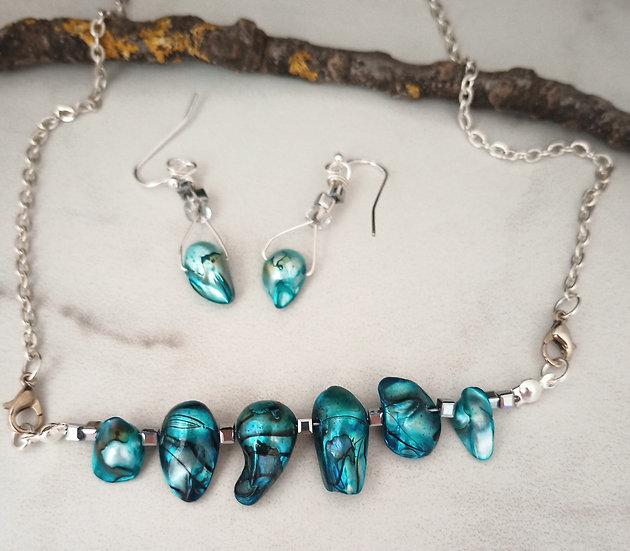 """Tiger"" Teal Biwa Fresh Water Pearls Necklace set"