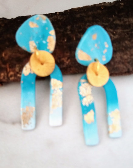 Light BLU Ombré With Gold Accents Earrings