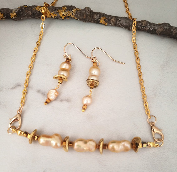 Gold Keishi Fresh Water Pearls Necklace set