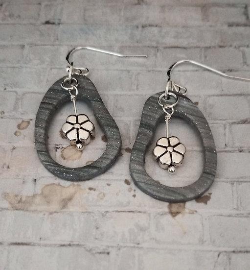 Silver Lines, Pebble Shape with Flower Earrings