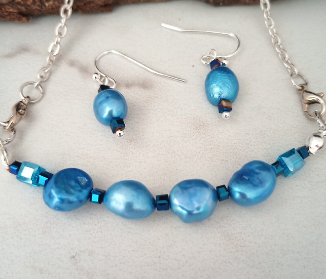 Blue Baroque Freshwater Pearls Necklace set