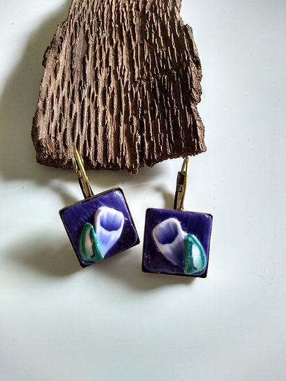 Bouquet of Purple Flower Earrings set