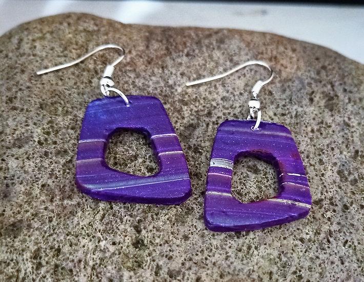 Wonky Purple Stripes Earring