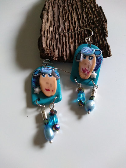 Sky Blue Face earrings