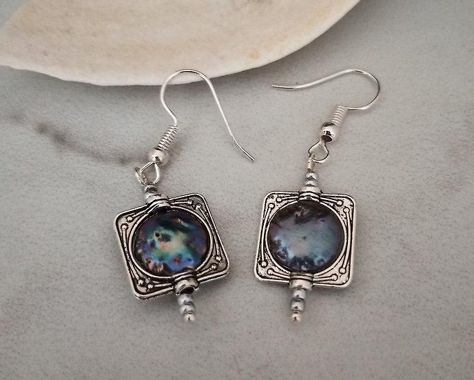 Black Coin Freshwater Pearls Earrings