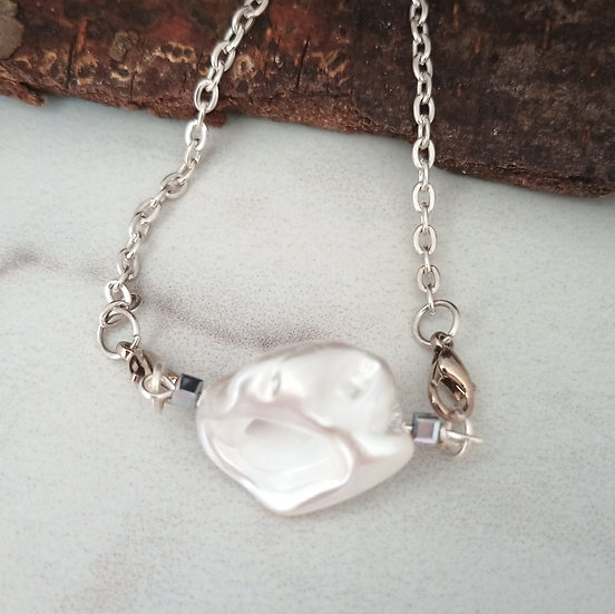 """White """"Nucleated"""" Freshwater Pearl Pendant"""