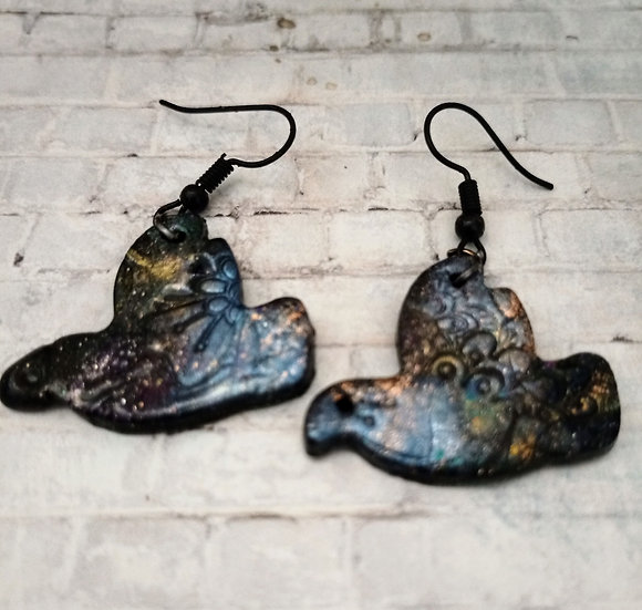 Sparkly Embossed Bird Earrings