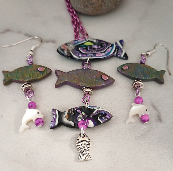 Black Dotted Fish Necklace set
