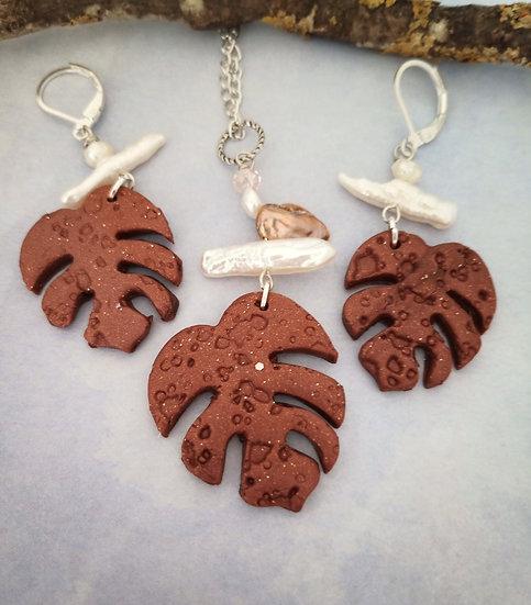 Monstera Leaf Copper Necklace Set