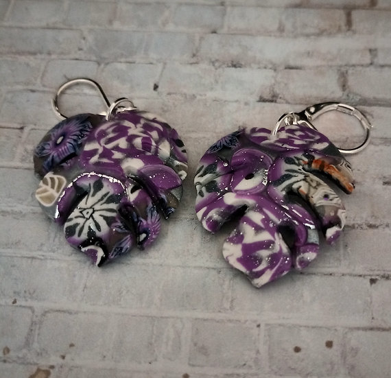 Monstera Leaf Mauve Metallic Earrings