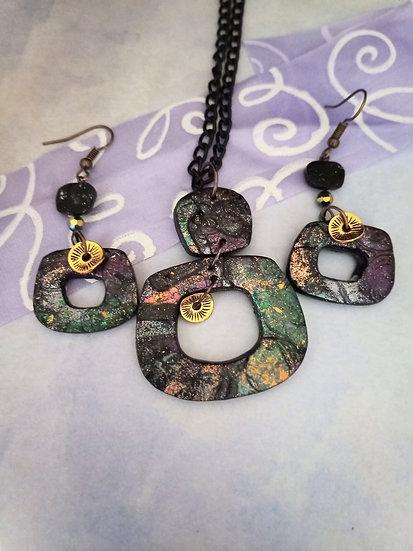 Galaxy Squarish  Necklace set