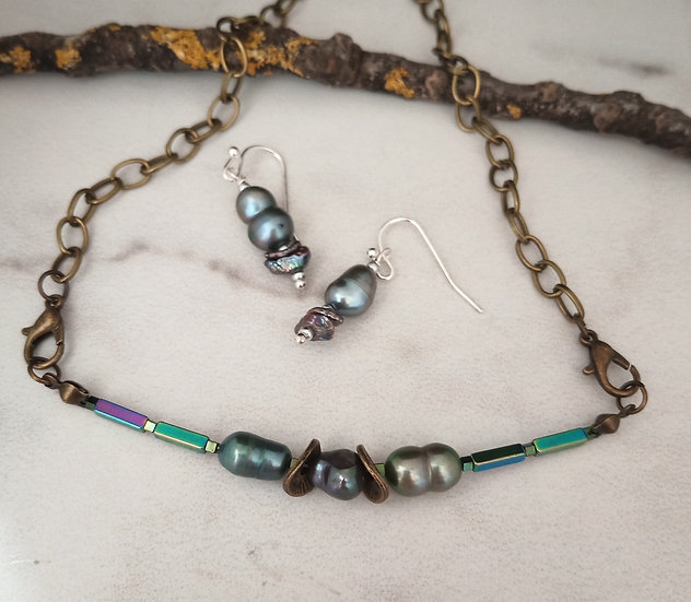 Gray and Black  Keishi Fresh Water Pearls