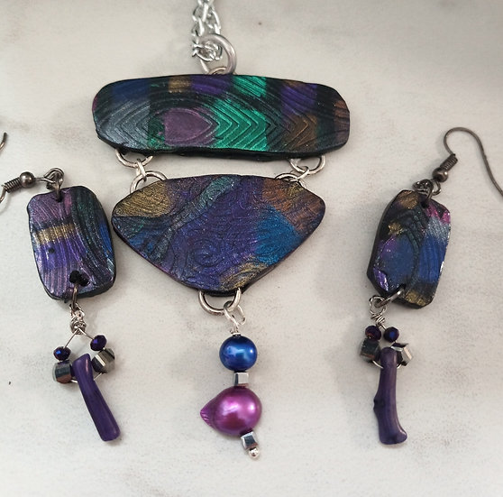 Dichroic Boho Style Necklace set