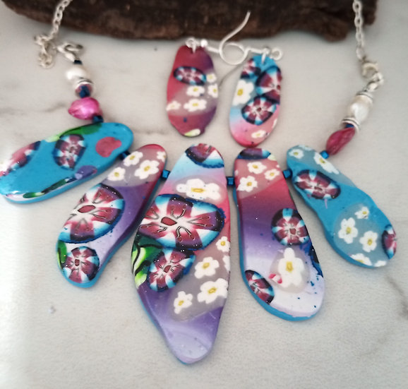 "Larger ""Sea Glass"" Daisy Mae Statement Necklace set"