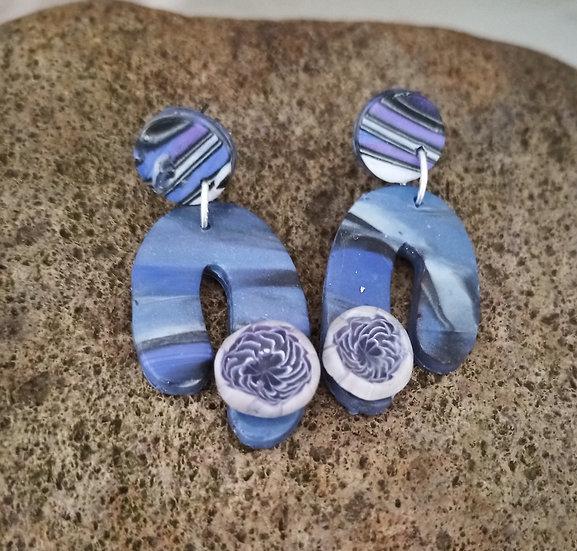Periwinkle Asymmetrical Earrings with Flower