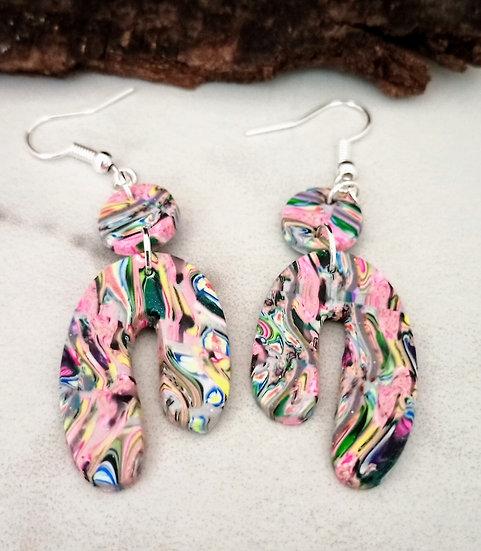 Asymmetrical Rainbow Earrings, NOT poured!