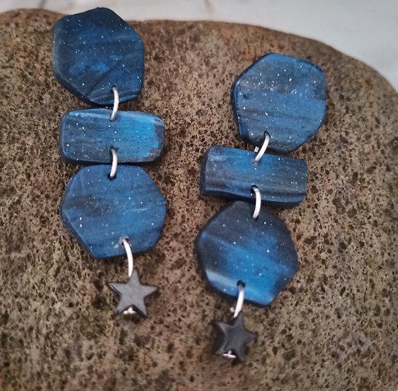 Starry Night Hexagons Earrings