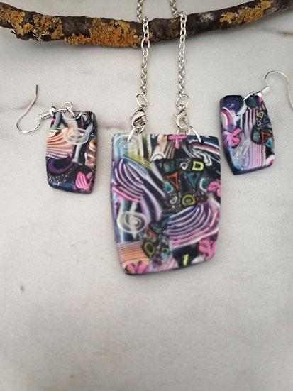 Rainbow Graffiti Necklace set