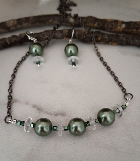 Black Shiny Fresh Water Pearls Necklace set